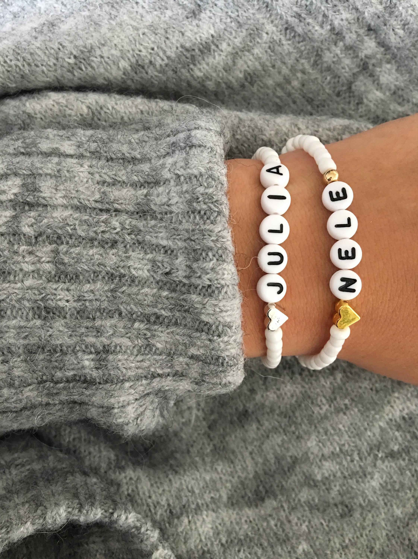 UK-Shop Top-Mode präsentieren ARMBAND Name Weiß Perlen Herz Name Buchstaben
